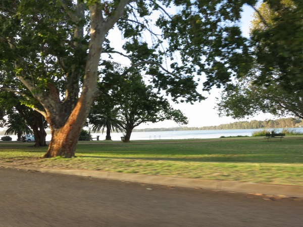 Driving past another park and lake.